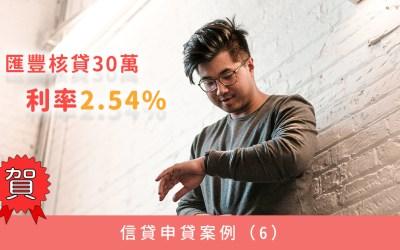 信貸申貸案例(6):優企客戶上市櫃公司技術員羅先生,申貸30萬,取得利率2.54%
