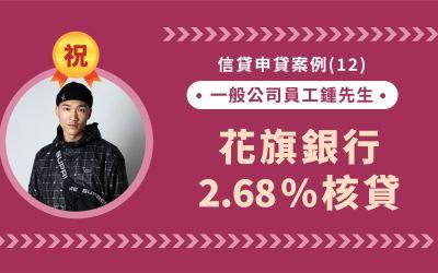 信貸申貸案例(12):公司資本額1億以下,一般公司員工鍾先生,花旗銀行2.68%核貸