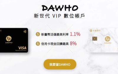 [DAWHO大戶現金回饋卡]2021下半年回饋更新最高國內7%、國外8%