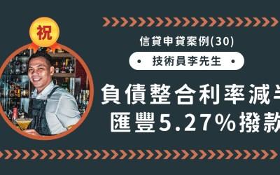 信貸申貸案例(30):信貸整合利率減半,滙豐銀行5.27%成功撥款!