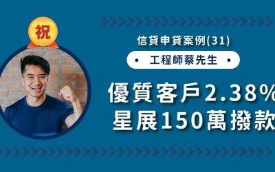 信貸申貸案例(31):優質客戶,星展銀行2.38%成功撥款!
