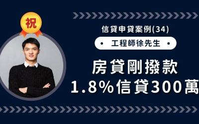 信貸申貸案例(34):房貸剛撥款,工程師徐先生信貸300萬1.8%,直逼房貸利率成功撥款!